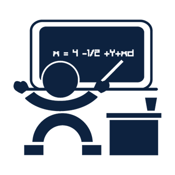 Icon of person talking in front of board and desk