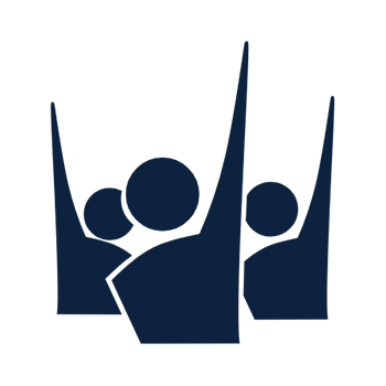 Icon of three people raising their hands